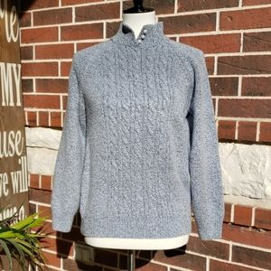 Karen Scott Mock Blue Cord Heavy Knit Sweater